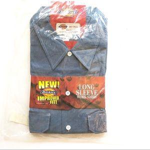 NWT Dickies Long Sleeve Denim Work Shirt 2XL Tall